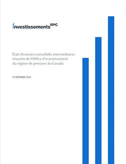 RPC Investissements-États financiers consolidés intermédiaires résumés de l'Office d'investissement du régime de pensions du Canada