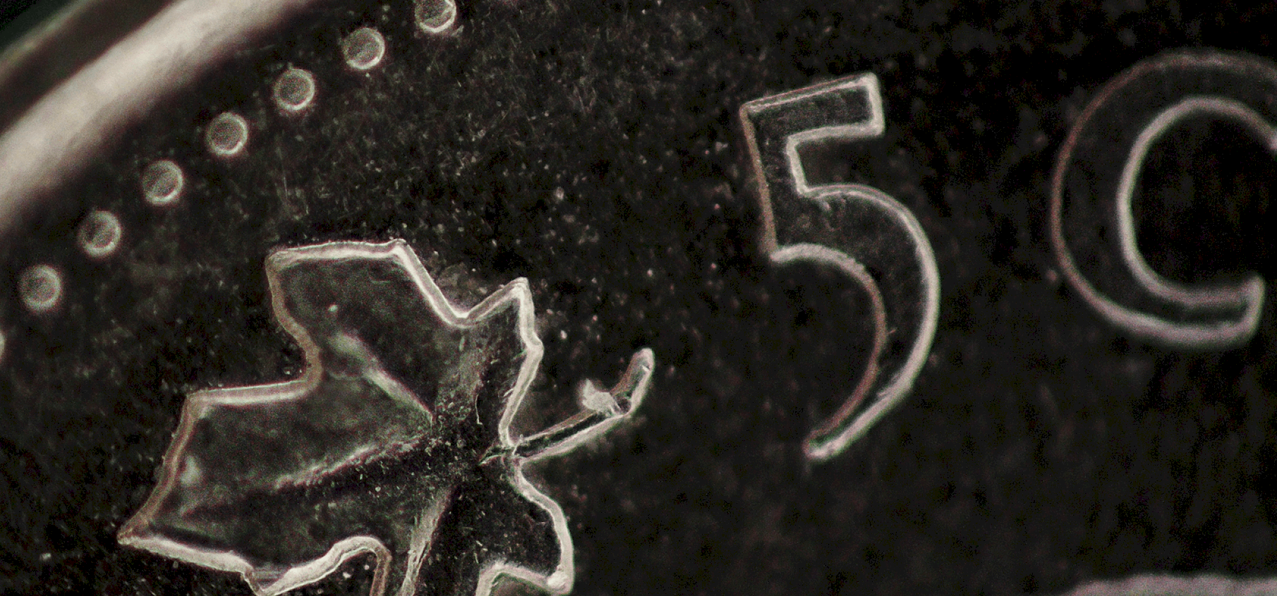 close-up picture of the Canadian 5 cent coin